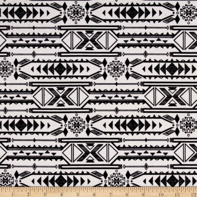 Ponte Double Knit Aztec Print Black/Off-White