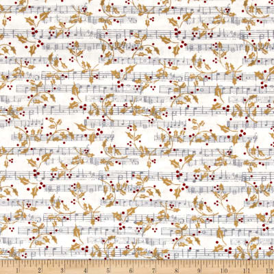 Paris Christmas Music Notes White