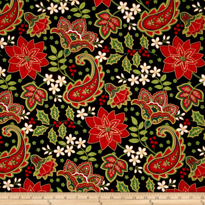 Traditional Poinsettia Metallic Paisley Holly Black