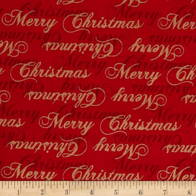 Traditional Poinsettia Metallic Words Red
