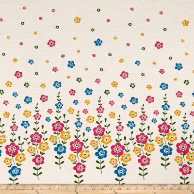 Rayon Jersey Knit Flower Power Print Multi