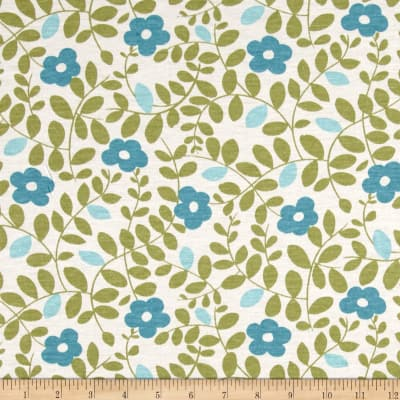 Jersey Knit Flower Power Print Teal/Green