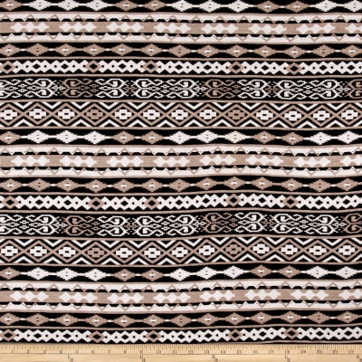 Stretch Rayon Jersey Knit Relic Print Brown
