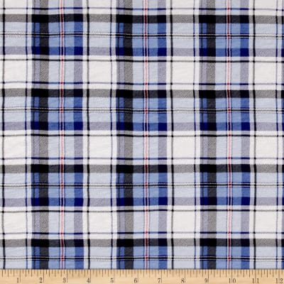 Stretch Rayon Jersey Knit Plaid Print Royal/White