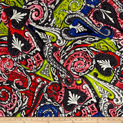 Peachskin Abstract Paisley Print Red Multi
