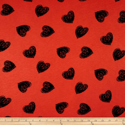 Jersey Knit Heart Print Coral