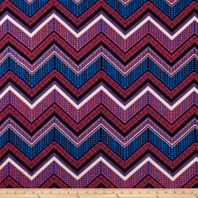 Jersey Knit Abstract Aztec Chevron Print Royal Pink