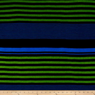 Jersey Knit Stripe Print Royal Green