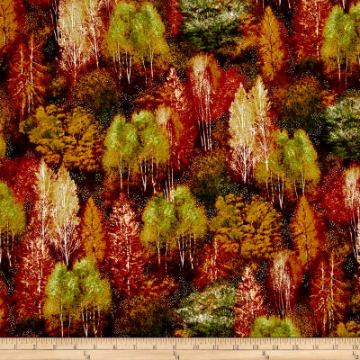Kaufman Shades of the Season Metallic Forest Rust