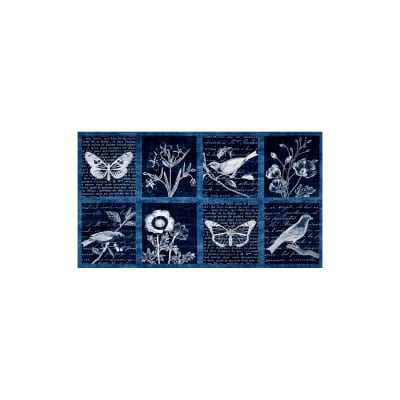 Kaufman Botanical Beauty 24 In. Panel Blocks Indigo