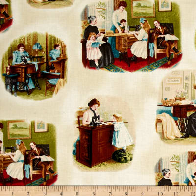 Kaufman Sewing With Singer Tossed Scene Antique