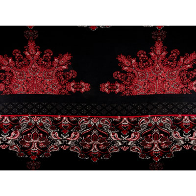 Hatchi Sweater Knit Floral Paisley Print Black Red