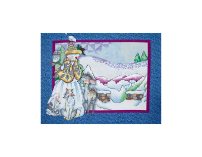 Jim Shore Woodland Snowman 35 In. Panel Blue