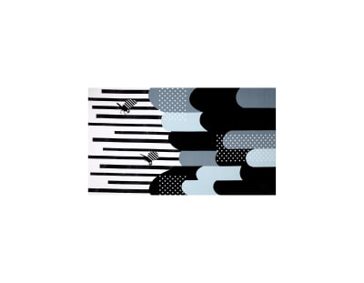 Kokka Echino Huedrawer Sateen Metallic Border Black