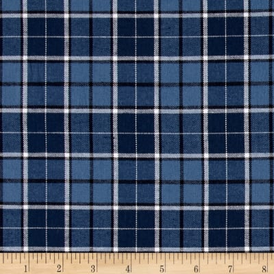 Kaufman Indigo Plaid Shirting Classic Blue