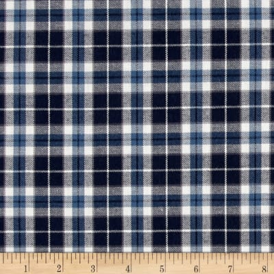 Kaufman Indigo Plaid Shirting White