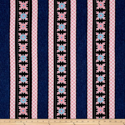 Kanvas Water Lily Trellis Stripe Denim