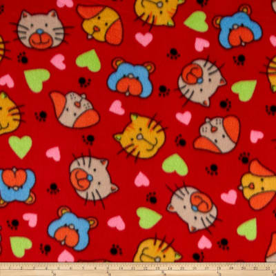 Polar Fleece Print Cat Dog Red