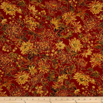 Moda Autumn Elegance Metallic Fall Blooms Cinnamon