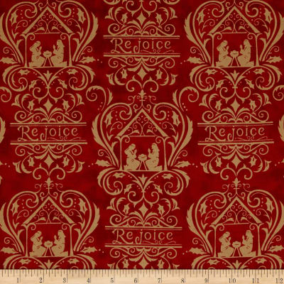 Moda Rejoice In The Season Damask Berry Red
