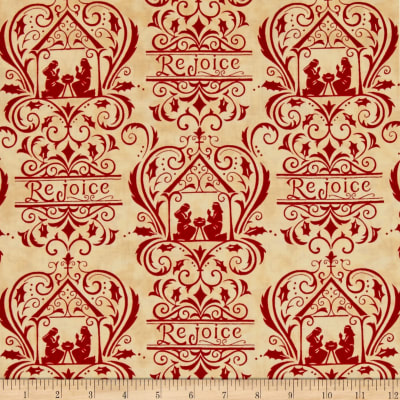 Moda Rejoice In The Season Damask Berry Red-Parchment
