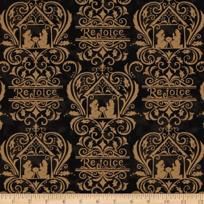 Moda Rejoice In The Season Damask Silent Night Black