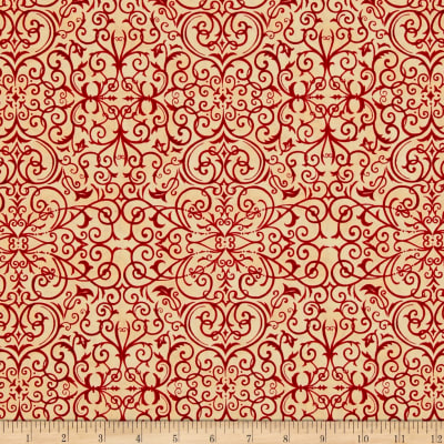 Moda Rejoice In The Season Scroll Berry Red-Parchment