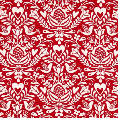 Moda North Woods Rosemaling Cranberry