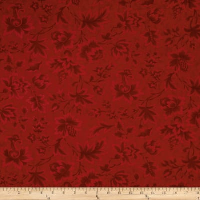 "Moda Midnight Clear 108"" Wide Quilt Back Jacobean Damask Crimson Glow"
