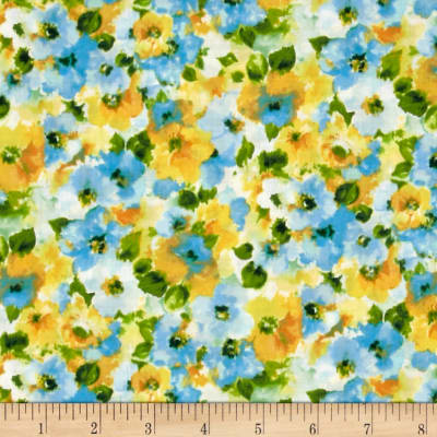 Kaufman London Calling Lawn Water Color Floral Cornflower