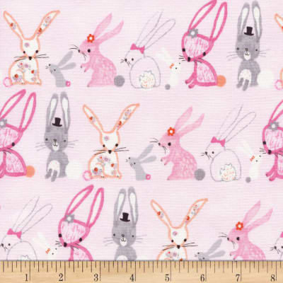 Timeless Treasures Flora and Fawn Bunnies Pink