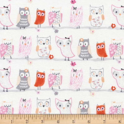 Timeless Treasures Flora and Fawn Owls White