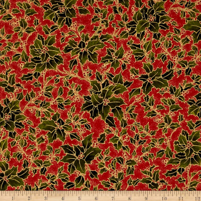 Moda Holly Night Metallic Holly Crimson