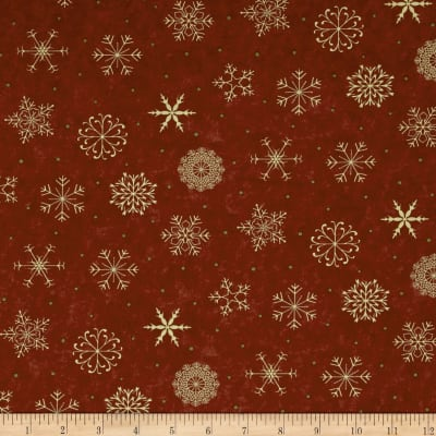 Moda Delightful December Snowflakes Berry