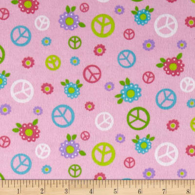 Lollipops Flannel Peace Signs Pink