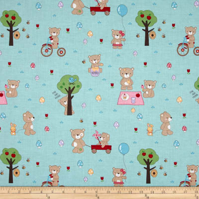 Riley Blake Teddy Bear's Picnic Teddy Main Aqua