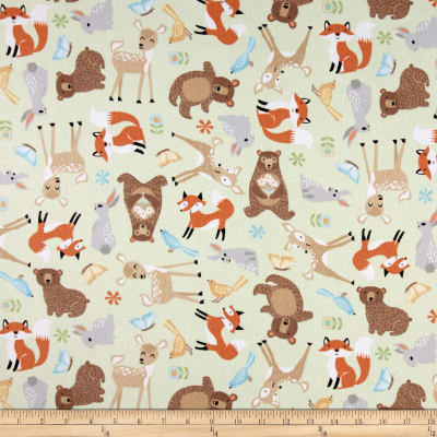 Sweet Meadow Flannel Baby Animals Green