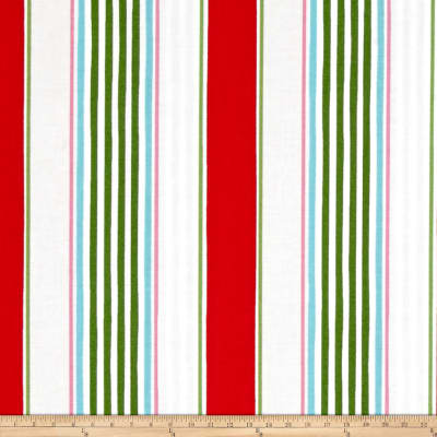 Merry Mistletoe Linen Stripe Red
