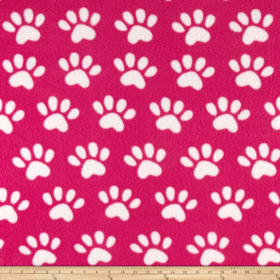 Paw Print Fleece Fucshia