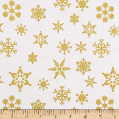 Riley Blake Gold Sparkle Snowflakes Gold Metallic