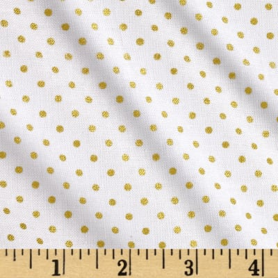 Riley Blake Gold Sparkle Swiss Dot Gold Metallic