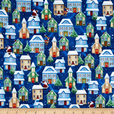 Christmas Village Houses Blue