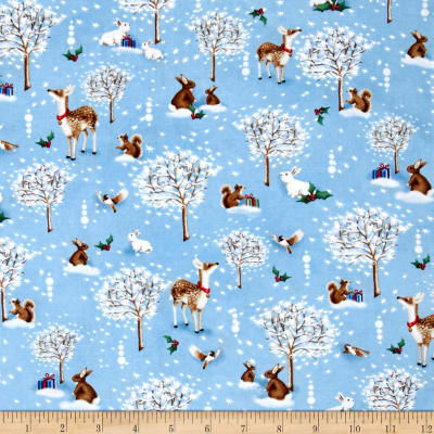 Christmas Village Forest Critters Blue