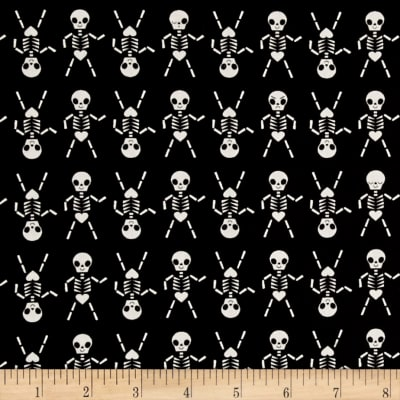 Cotton + Steel Boo Skeleton Dance Black