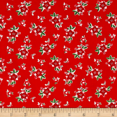 Riley Blake Pixie Noel Floral Red