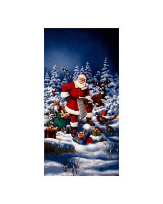Good Tidings Jolly St. Nick 24 In. Panel Blue