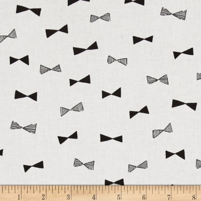 Kokka Monochrome Canvas Bowties White