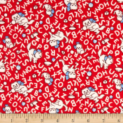 Storybook Flannel Alphabet Cats Red