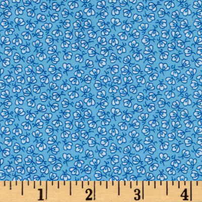 Storybook Flannel Pretty Poppies Blue