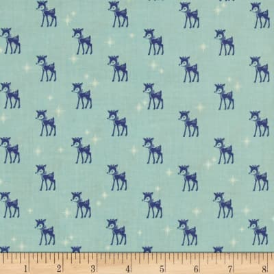 Riley Blake Cozy Christmas Reindeer Blue